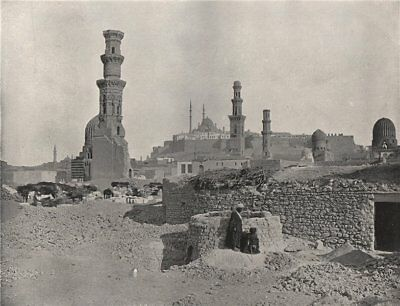CAIRO. Distant view of the Citadel. Egypt 1895 old antique print picture