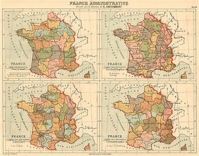 FRANCE ADMINISTRATIVE Army/Ecclesiastical/Judicial/University divisions 1880 map