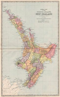 Large map of NORTH ISLAND, NEW ZEALAND showing counties. GARRAN 1888 old