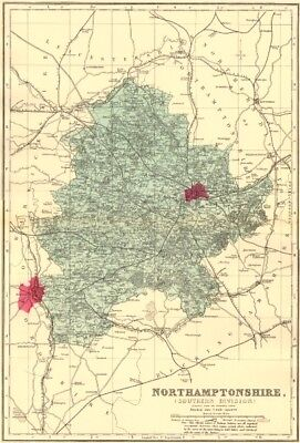 NORTHAMPTONSHIRE (South). Antique county map by GW BACON 1883 old