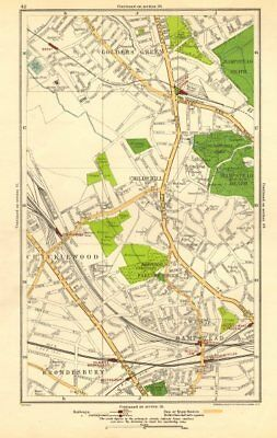 CRICKLEWOOD. Brondesbury,Fortune/Golders Green,Hampstead,Child's Hill 1923 map