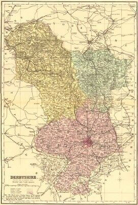 DERBYSHIRE. Antique county map by GW BACON 1883 old plan chart