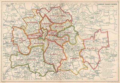 LONDON POLICE COURTS. Showing divisions & court locations. BACON 1927 old map