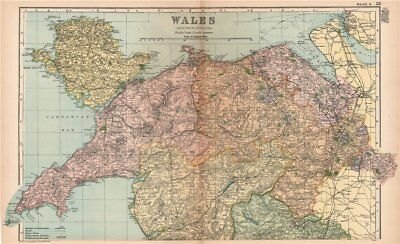 NORTH WALES. Showing Parliamentary divisions & boroughs. BACON 1901 old map