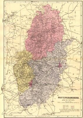 NOTTINGHAMSHIRE. Antique county map by GW BACON 1883 old chart