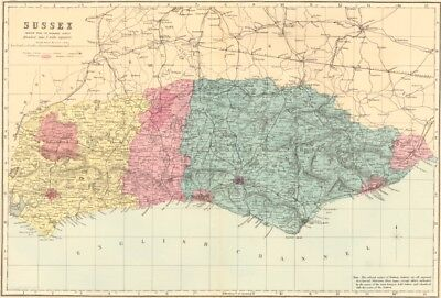 SUSSEX. Antique county map by GW BACON 1883 old vintage plan chart