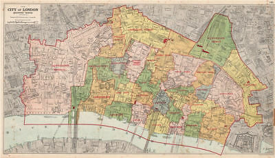 CITY OF LONDON showing WARDS. Churches & public buildings plans. BACON 1927 map