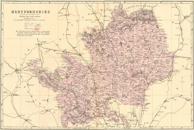 HERTFORDSHIRE. Antique county map by GW BACON 1883 old plan chart