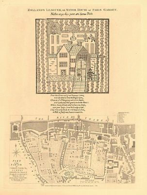 CHRIST CHURCH PARISH, SOUTHWARK in 1746. South Bank/Bankside. London 1834 map