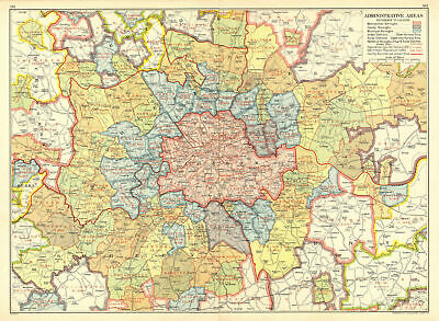 LONDON. Administrative Areas. Municipal Boroughs Local Authorities 1937 map