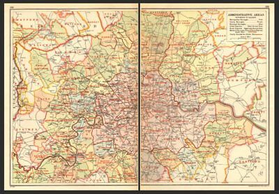 LONDON. Administrative Areas; Boroughs & Districts 1923 old vintage map chart