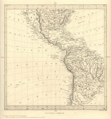 AMERICAS. Gnomonic Projection. Shows Texas as part of Mexico. SDUK 1848 map