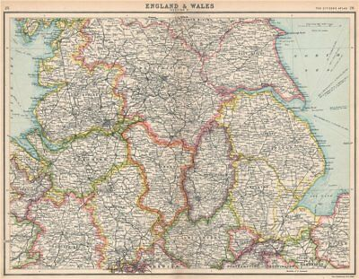 ENGLAND NORTH. Lancashire Yorkshire Lincs Notts Derbys Cheshire Staffs 1912 map