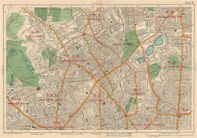 N LONDON Finsbury Park Highgate Holloway Stoke Newington Camden. BACON 1927 map