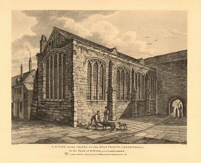HOLY TRINITY CHAPEL, LEADENHALL. North East view. City of London 1834 print