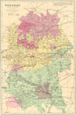WILTSHIRE. Antique county map by GW BACON 1883 old plan chart