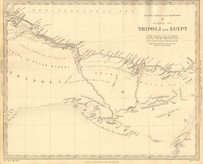 NORTH AFRICA BARBARY. Parts of Tripoli (Libya) & Egypt. Tribes. SDUK 1848 map