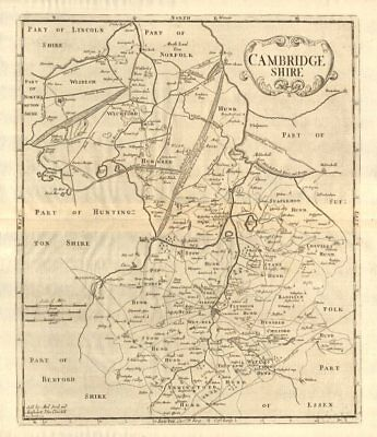 CAMBRIDGESHIRE. by ROBERT MORDEN from Camden's Britannia 1772 old antique map