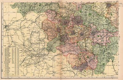 YORKSHIRE (SOUTH WEST). Showing Parliamentary divisions & parks. BACON 1904 map