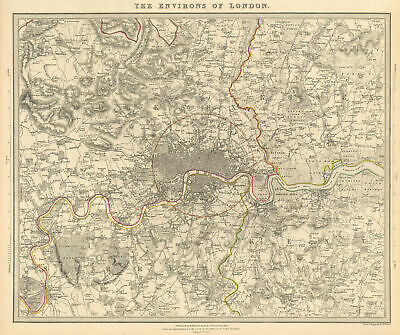 LONDON & ENVIRONS. Middlesex Kent Essex Surrey.  Coloured. SDUK 1844 old map