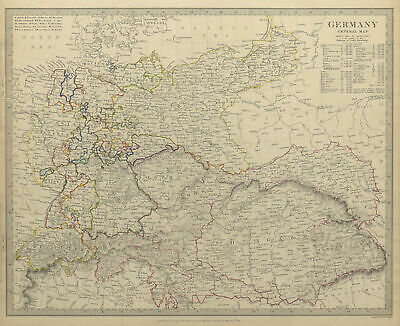 GERMANY. General Map. Hungary. Population table. SDUK 1844 old antique
