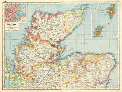 SCOTLAND NORTH/HIGHLANDS. Sutherland Ross/Cromarty Caithness. Aberdeen 1920 map