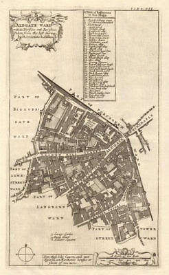 'Aldgate Ward'. Leadenhall/Fenchurch Street City of London. STOW/STRYPE 1720 map