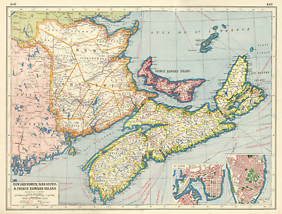 CANADA MARITIME PROVINCES.New Brunswick Nova Scotia PE.St John Halifax 1920 map