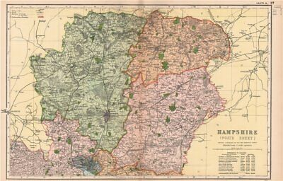 HAMPSHIRE (NORTH). Showing Parliamentary divisions & parks. BACON 1904 old map