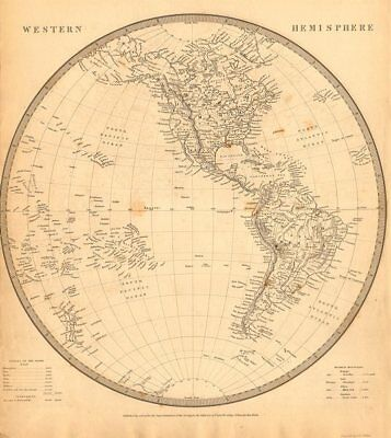 WESTERN HEMISPHERE. Americas Mexican Texas Pacific New Zealand. SDUK 1844 map