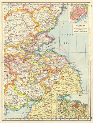 SCOTLAND SOUTH EAST.Borders Lothian Fife Tayside.Dundee Edinburgh plan 1920 map