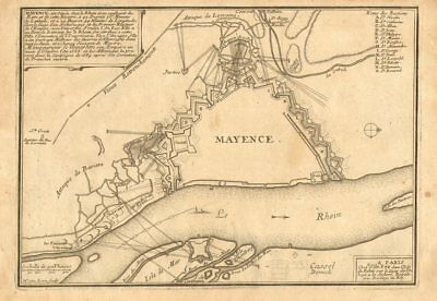 'Mayence'. Mainz. Plan of town/city & fortifications. Germany. DE FER 1705 map