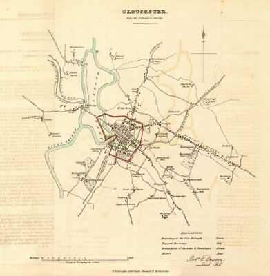 GLOUCESTER borough/town plan. REFORM ACT. Matson Wotton. DAWSON 1832 old map