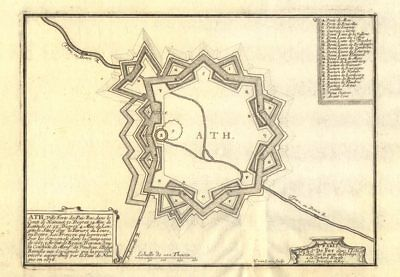 Ath, Belgium. Plan of town/city & fortifications. DE FER 1705 old antique map