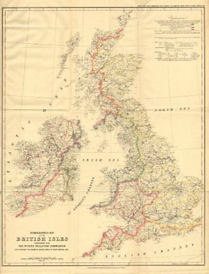 British Isles Hydrographical map. Drainage basins/watersheds. STANFORD 1874