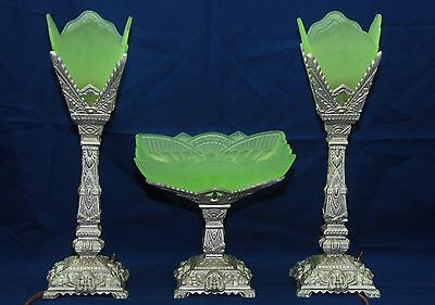 Stunning Art Deco 3 Piece Mantle Set 2 Lamps Centerpiece Frosted Uranium Glass