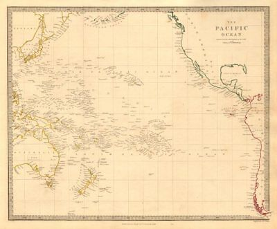 PACIFIC OCEAN. Australiasia Polynesia Oceania Sandwich Islands. SDUK 1846 map