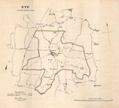 EYE borough/town plan for the REFORM ACT. Brome Yaxley. Suffolk. DAWSON 1832 map