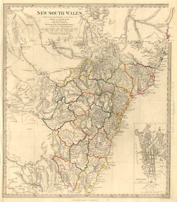NEW SOUTH WALES based on Cunningham routes. SYDNEY city plan. SDUK 1846 map