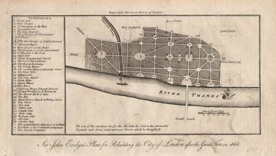 Evelyn's City of London rebuilding plan after the 1666 fire. HARRISON 1776 map