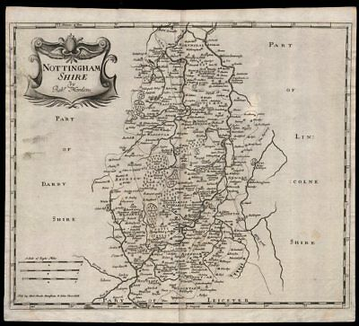 NOTTINGHAMSHIRE. by ROBERT MORDEN from Camden's Britannia 1695 old antique map