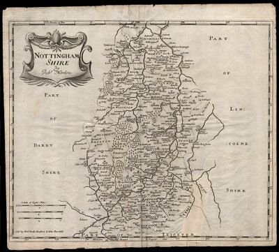 NOTTINGHAMSHIRE by ROBERT MORDEN from Camden's Britannia 1695 old antique map
