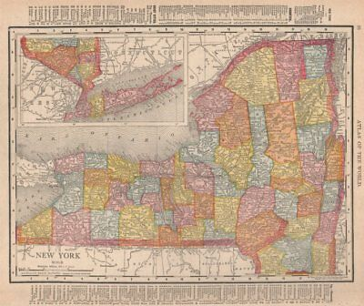 New York state map showing counties. RAND MCNALLY 1912 old antique chart