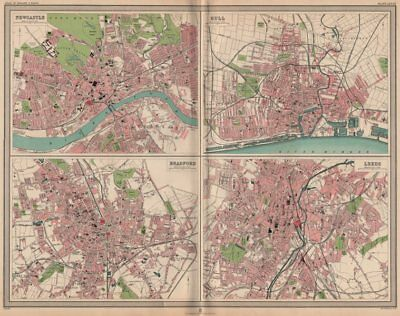 NORTHERN ENGLISH CITIES. Plans of Newcastle Hull Bradford Leeds. LARGE 1903 map
