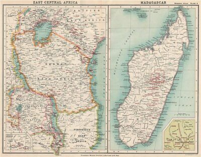GERMAN EAST AFRICA & MADAGASCAR PROTESTANT MISSIONS. Tanzania Kenya 1911 map