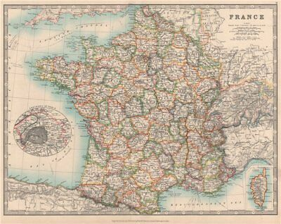 FRANCE showing important battlefields and dates. JOHNSTON 1912 old antique map