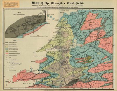 'Map of the Munster Coal-field'. Ireland Resources Commission map 1920 old
