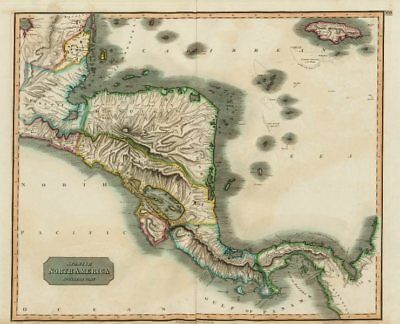 """""""Spanish North America, southern part"""" by John Thomson. Central America 1817 map"""