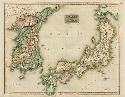 """""""Corea and Japan"""" by John Thomson. East Asia. Korea 1817 old antique map chart"""