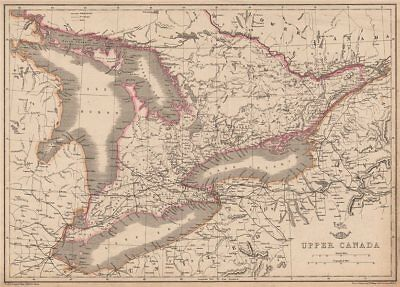 UPPER CANADA. Lakes Huron, Erie & ONTARIO. Counties. Railways. ETTLING 1862 map